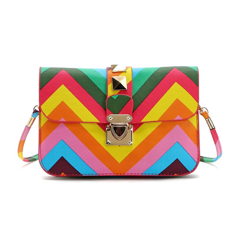 2016 New hot summer fashion rainbow designer women bags handbags ladies messenger bag small crossbody bag free shipping bolsa(China (Mainland))