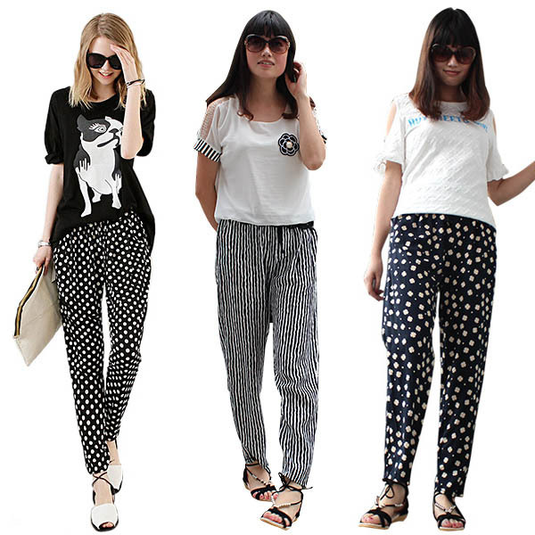 Casual Lady Women Pants Stretchy Harem Pants Baggy Trousers Loose ...