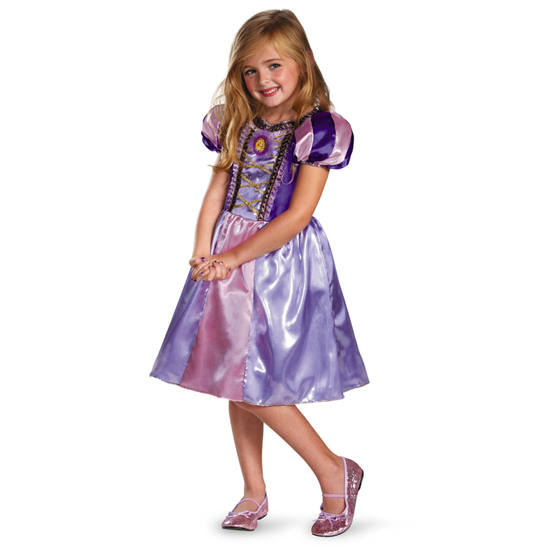 Markdown Sale Rapunzel Sparkle Classic Girls Costume Kids Movie Princess Cosplay Clothing Halloween Carnival Fancy Dress(China (Mainland))