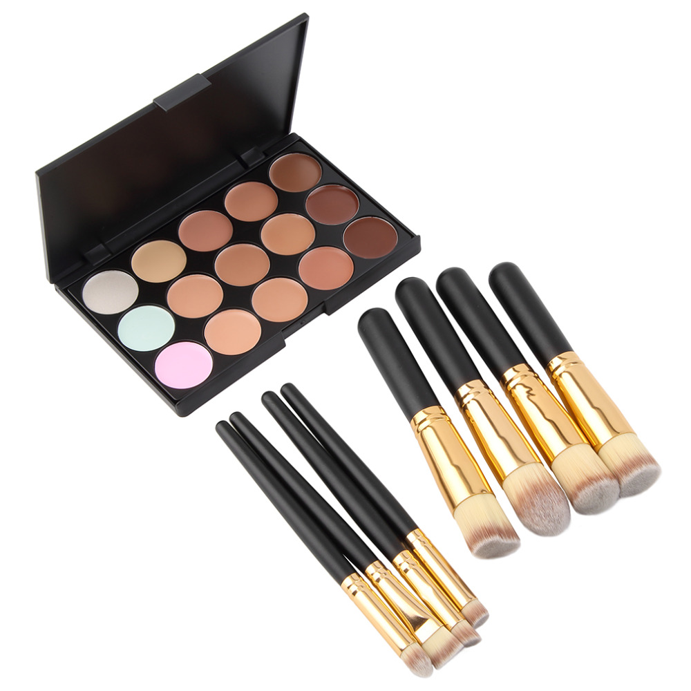 15 Color Contour Face Cream Makeup Concealer Palette & 8 pcs Powder Brushes 2015 Hot