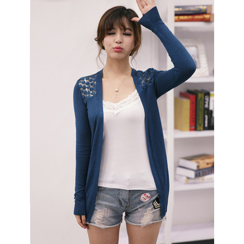 Dropshipping Candy Color Women Cardigan Sweaters New Design Ladies Lace Knitted Shrugs Casual Short Loose Solid Cardigans Shirt