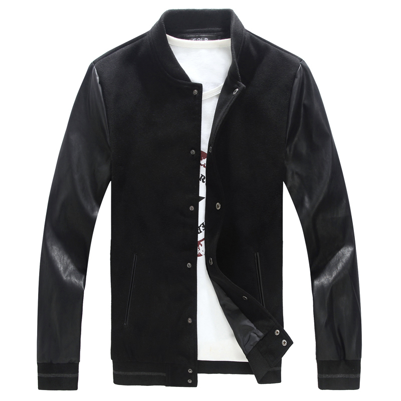 Men's Baseball Jacket 2015 Autumn Plus Size Leather patchwork Woolen Jackets Man Plus Size 6XL 5XL 4XL(China (Mainland))
