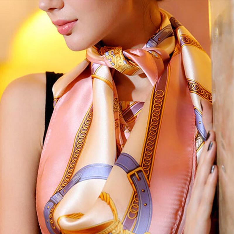 LING/Cheap Square Lmitated Tippet Silk Scarf ,90x90cm Women Satin Pashmina,Fashion Polyester Ladies Shawls And Scarves /FJ0014(China (Mainland))