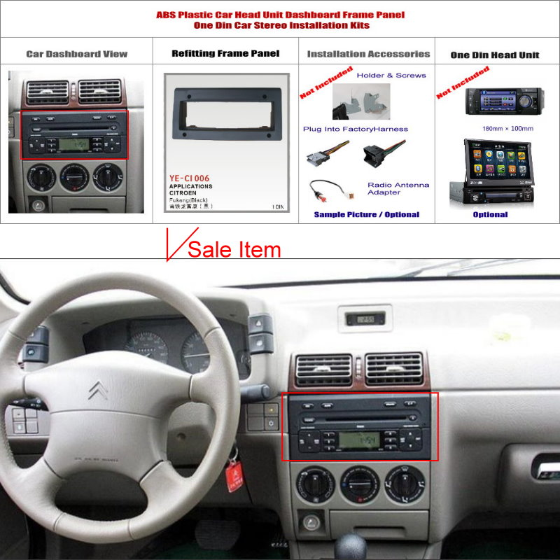 1 DIN ABS Plastic Frame Panel Citroen Fukang Aftermarket Radio Stereo DVD Player GPS Navigation Installation  -  ACP Store store