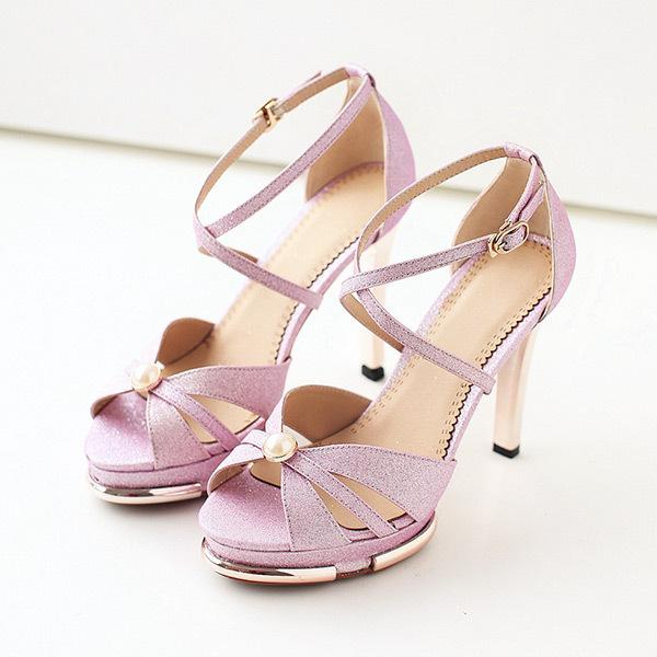 2015 summer new rome sweety glitter buckle pearl women sandals high heels weomen sandal breathable comfort women sandals E953<br><br>Aliexpress