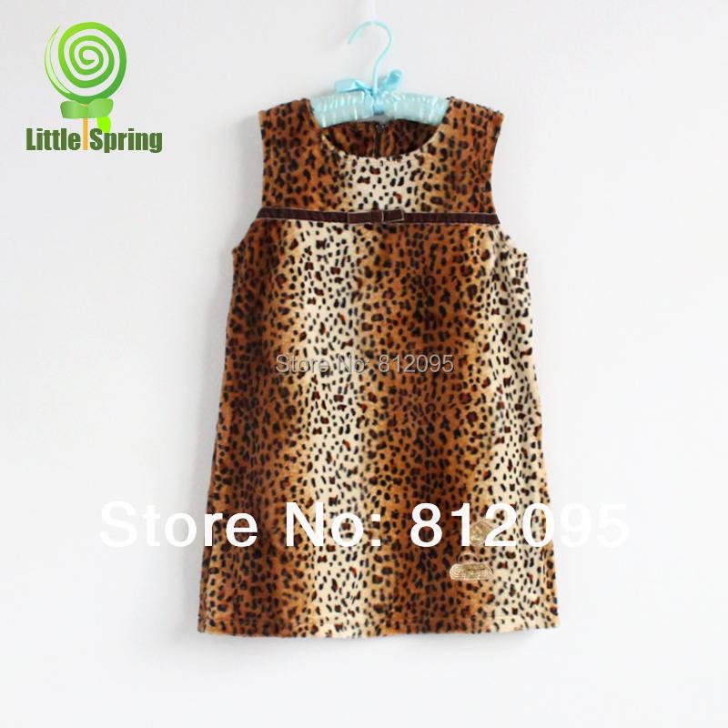 LittleSpring summer Children Girls Dresses! Girls Fashion Leopard Dresses One-piece Kids Cute casual dress(China (Mainland))