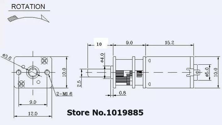 Bulk 4pcs n20 12mm 3v 25 rpm high torque micro brushed dc for 3v dc motor datasheet