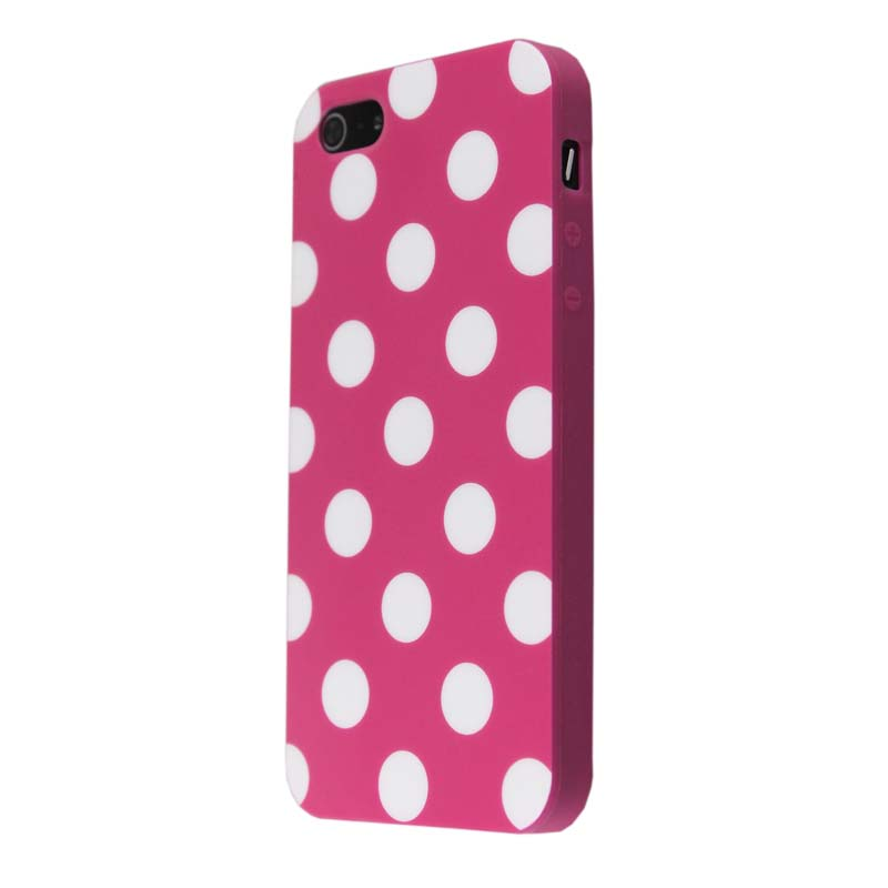 Hot Pink&white Polka Dot Flex Gel TPU Case Cover for iphone 5 5S(China (Mainland))
