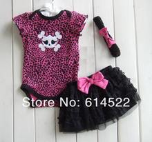 Baby Girls Bodysuit, Cute skull with black Polka Dot one piecee, Jumpsuits+chiffon skirt+hairbands 3 pc set, Free Shipping(China (Mainland))