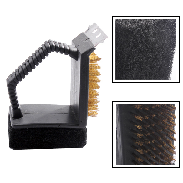 BBQ Barbecue Grill Cleaner Cleaning Brush Steel Wire Sponge Shovel Set Baking Tools BBQ Brush(China (Mainland))