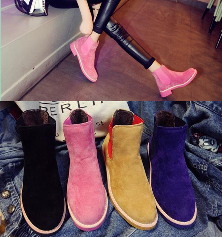New 2016 Autumn Winter Brand Women Suede Leather Ankle Boots Flat Heels 9 Candy Colors Oxford Shoes Woman Casual Free Shipping(China (Mainland))