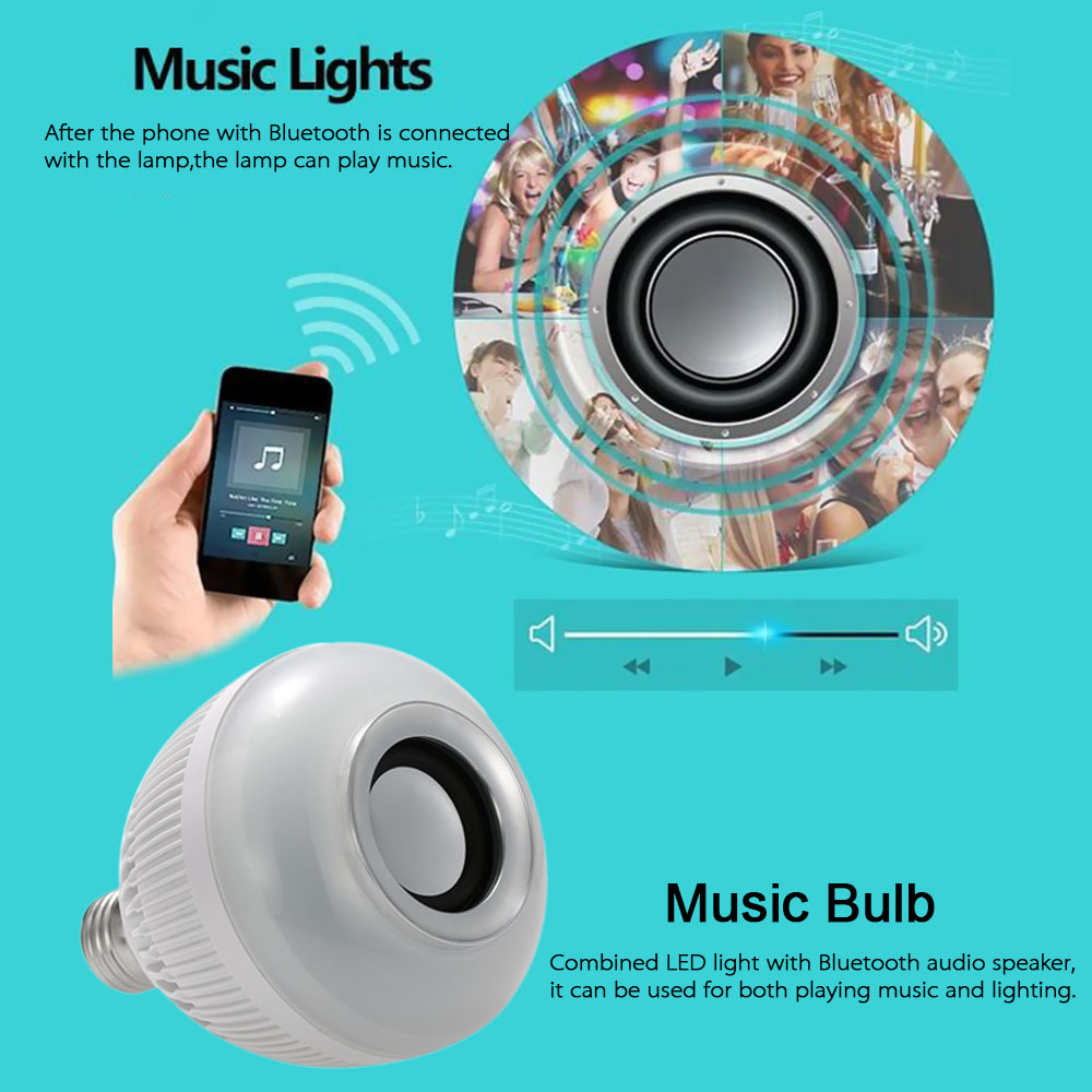 Wireless Bluetooth Music LED Bulb Audio Speaker 6W E27 Speaker 12W Power RGBW Music Playing Light Lamp 24 Keys IR Remote Control(China (Mainland))
