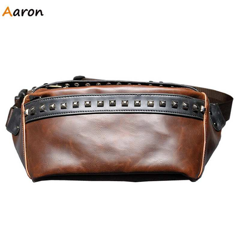 Aaron - New Arrival Stylish Rivert Men's Leather Waist Bags,Solid Reinforce Belt Men Shoulder Bags,Casual Small Man Chest Bags(China (Mainland))