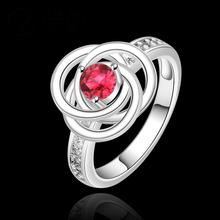 2014 wholesale 925 Silver ruby Austrian Crystal CZ Simulated Diamonds Fashion Jewelry Acessories new design finger ring