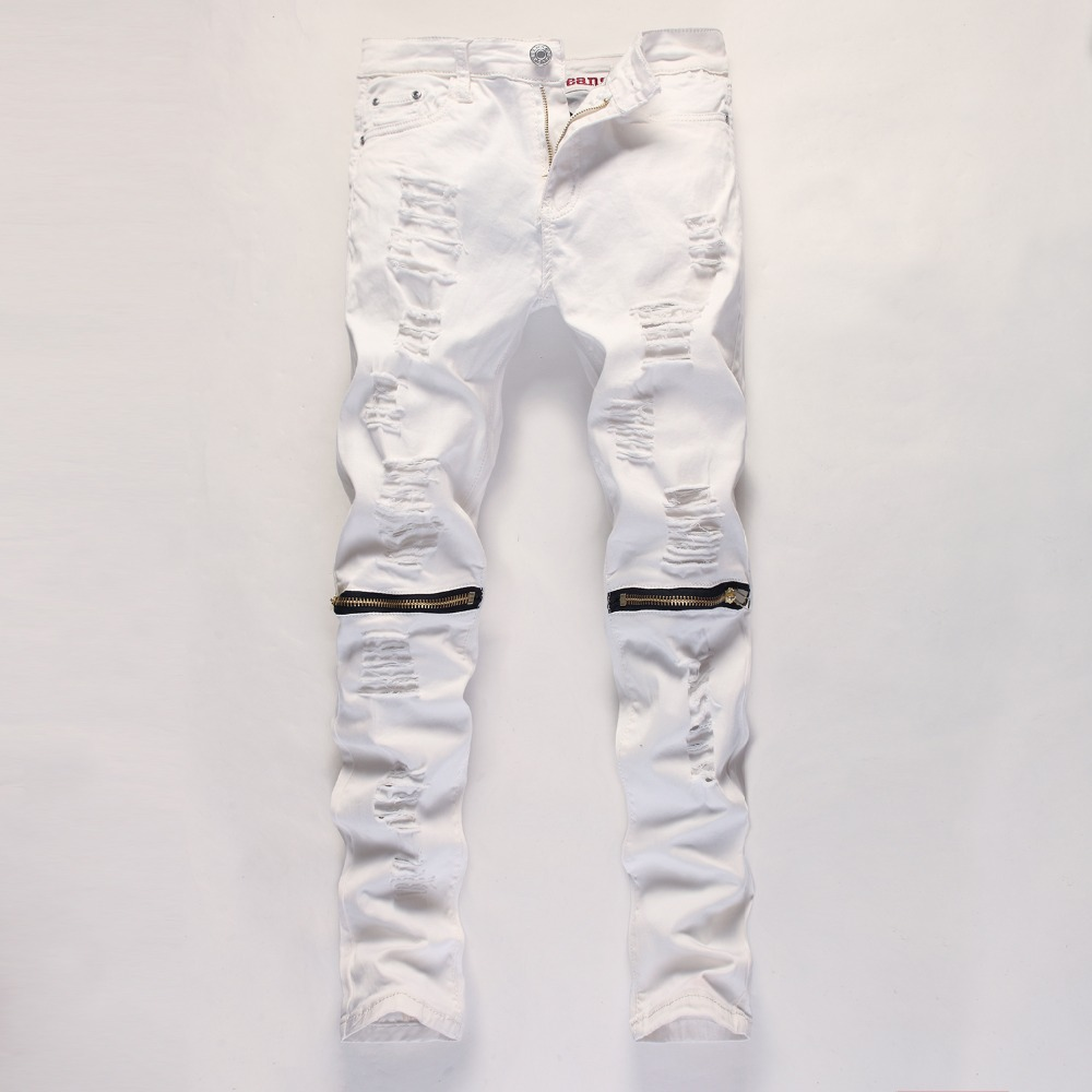 White Jeans Men White Ripped Slim Fit Skinny Pantalon