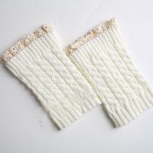 La MaxPa Moda 1 Çift Kadınlar Dantel Tığ Örme bacak ısıtıcısı Düz Renk bot paçaları Kış sıcak Çizme Çorap k2187(China)