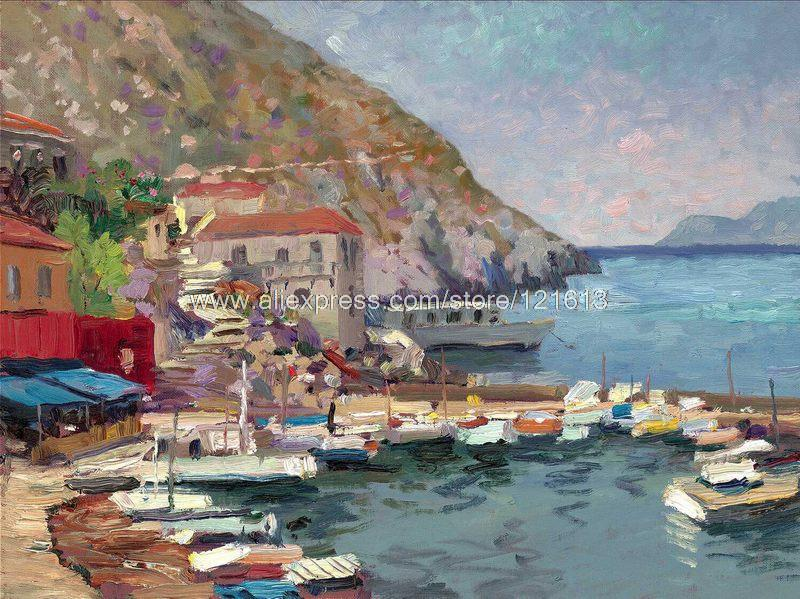 Thomas kinkade canvas print of oil painting Island Afternoon,greece seascape painting hotel office Home decor wall painting art(China (Mainland))