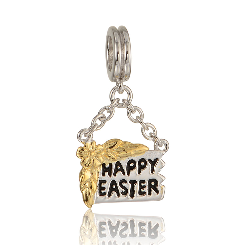 Happy Easter Bead 925 Sterling-Silver-Jewelry Fit European Brand Charm Bracelet Fine Jewelry DIY Fashion Finding Wholesale S284(China (Mainland))