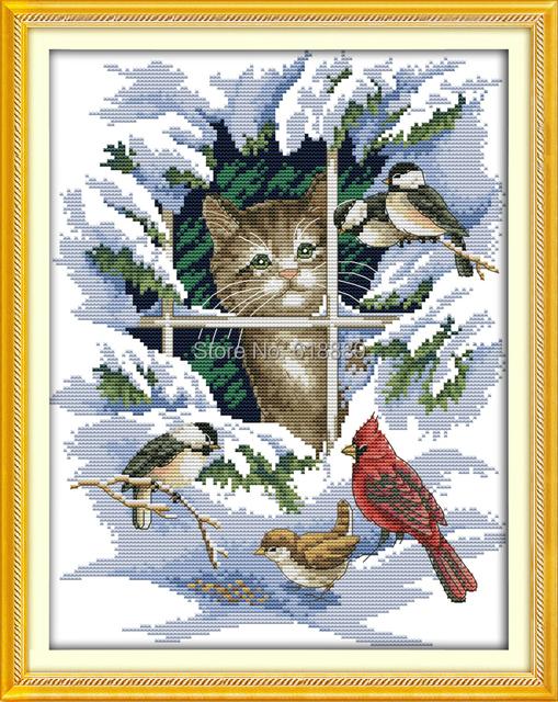 Кошка и птицы счетный крест 11CT 14CT DMC крестом устанавливает DIY комплекты крестиком для вышивки домашнего декора рукоделие