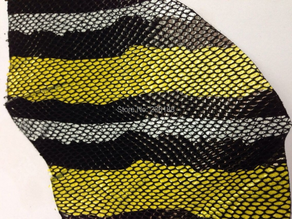 Exclusive Coated Genuine Goat Leather Fabric with Snake Pattern,Yellow/blue,Free Shipping(China (Mainland))