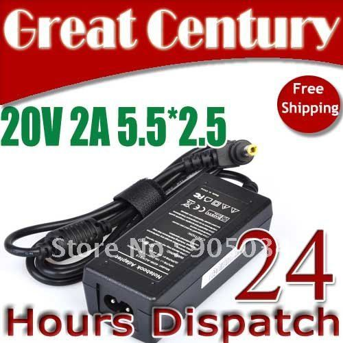 Free Shipping 20V 2A 5.5*2.5 AC Adapter Laptop Charger Power supply for IBM Lenovo Ideapad S9 S10 MSI Wind Toshiba LG Laptop