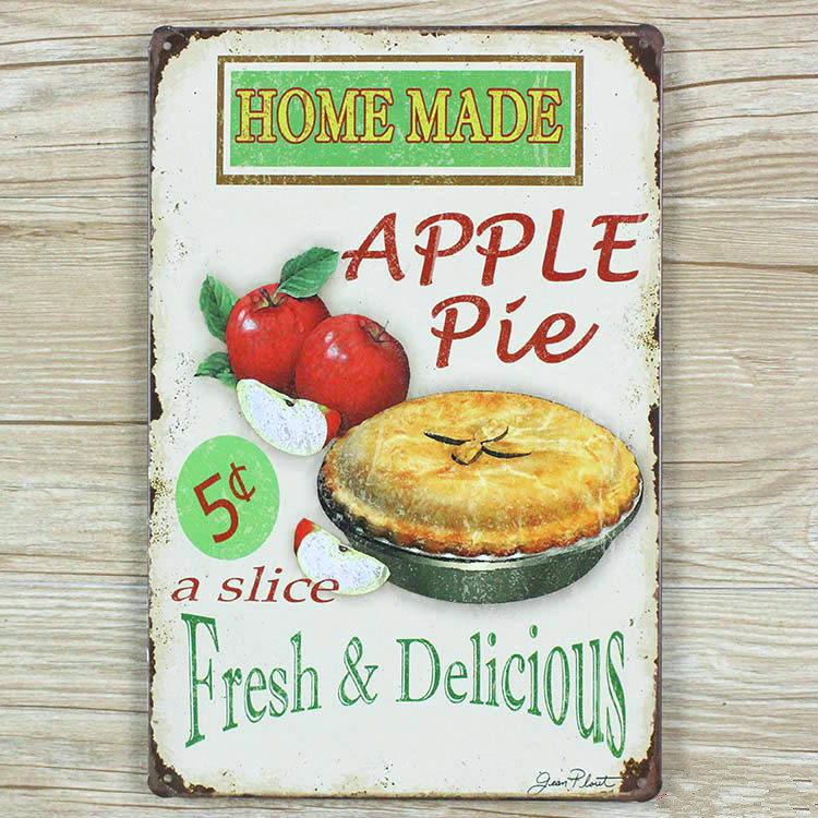 Apple pie Metal Tin signs Retro wall decor bar home iron poster painting Vintage plaque crafts 20*30 CM free shipping YT-00330(China (Mainland))