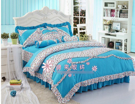 120389 100% cotton / girls Supplies / pink /bedding set/Romantic girl bed/ Cotton bedding /blue