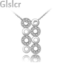 2015 new 100% factory Wholesales 18K gold plated 3 colors circle design Austrian Crystal pendant Necklace jewelry 80040(China (Mainland))
