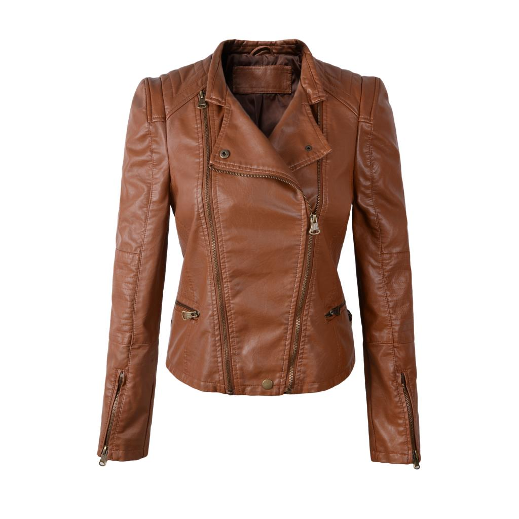Women motorcycle leather jacket jaqueta de couro biker pu coat faux leather brown clothing S M L drop shippingОдежда и ак�е��уары<br><br><br>Aliexpress