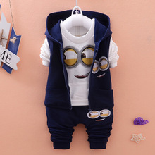 Newest 2015 Autumn Baby Girls Boys Minion Suits Infant/Newborn Clothes Sets Kids Vest+T Shirt+Pants 3 Pcs Sets Children Suits(China (Mainland))