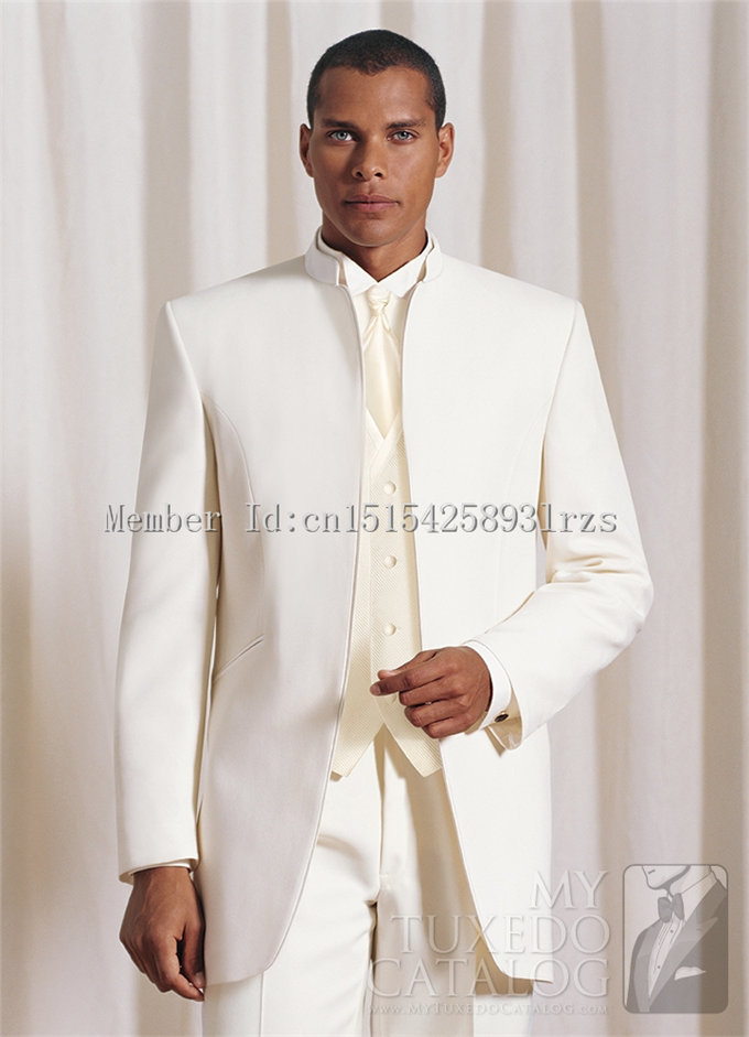 Custom made best selling ivory groom tuxedos groomsmen men for Mens ivory dress shirt wedding