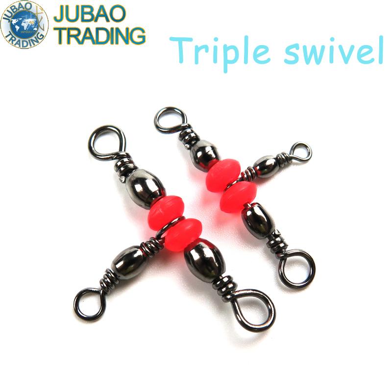 Free Shipping 50Pcs 3 Way Red Brass Fishing Barrel 10 12 Triple Swivels Fishing Tackle Swivel