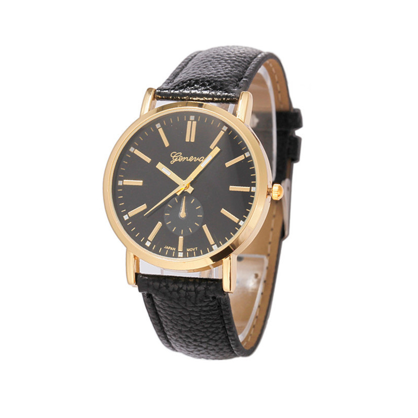 Гаджет  2015 Geneva Unisex Leather Band Analog Quartz Vogue Wrist Wristwatches Men Women Watch Perfect Gift None Часы