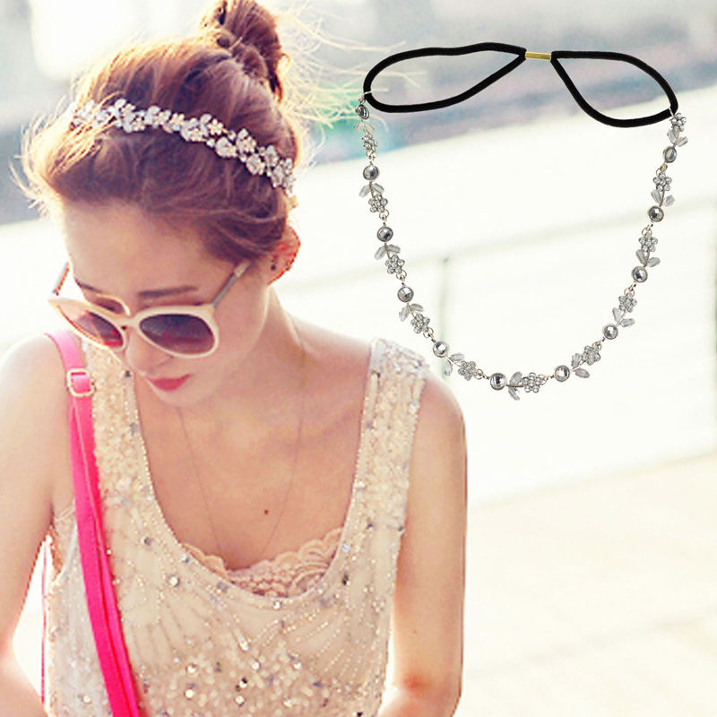 1 PCS New Lady Elastic Crystal Fashion Metal Rhinestone Head Chain Jewelry Headband Headwear Hair Accessories(China (Mainland))