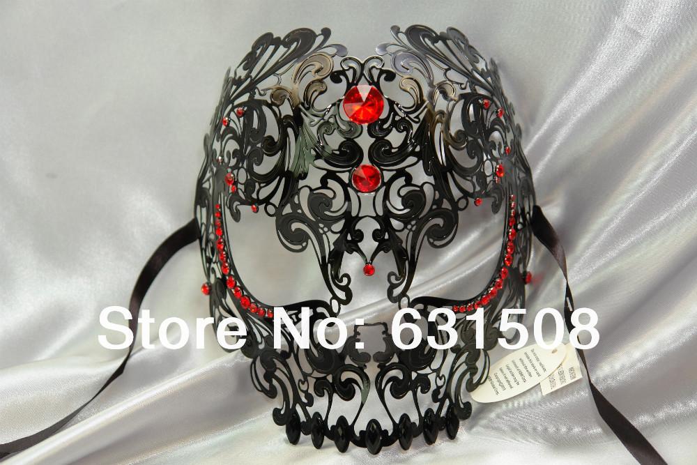 ! 2014 New Style, halloween Skull Laser Cut Metal Venetian Party Mask Rhinestone M7153B/R 3