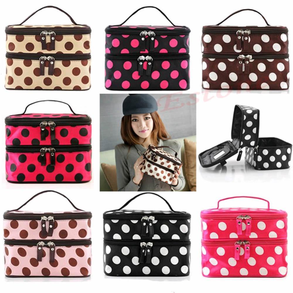 Women Folding Double Layer Dot Organizer Makeup Storage Cosmetic Case Hand bag(China (Mainland))