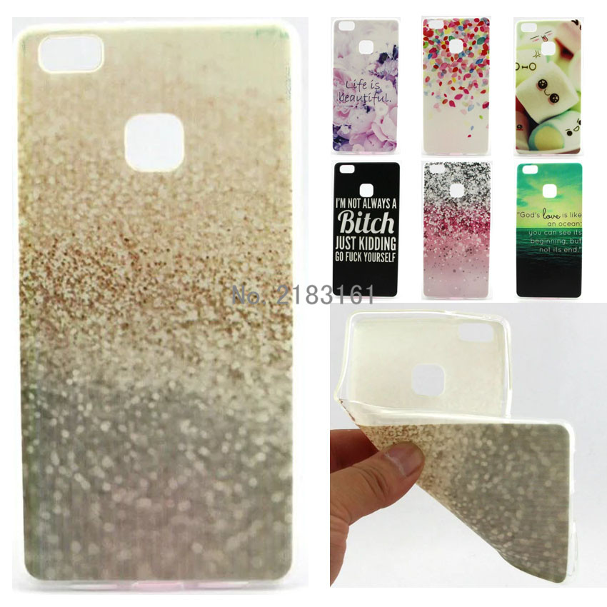new Cute The white cat pattern Cartoon Soft TPU Case For Huawei P9 lite Cover Phone Bag Protective Shell(China (Mainland))