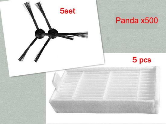 Panda x500 side brush Panda robot vacuum cleaner Side Brush X 10pcs (5Left+5Right)+ HEPA Filter X5pcs Free shipping(China (Mainland))