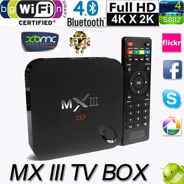 TV Stick MX III 4.4 TV Box Mali450 4 K 2G/8 2.4 G/5 G Wifi XBMC Bluetooth DLNA Miracast V752 vista iii usb 3 0 450
