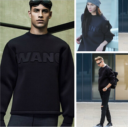 Unique Mens WANG Embossed Sweatshirt Street Fashion Stars Casual Space Cotton Long Sleeve Black Pullover Sweatshirts Одежда и ак�е��уары<br><br><br>Aliexpress
