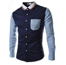 New Fashion Man Shirts Long Sleeve Slim High Quality Men Clothing Spring Summer Casual Patchwork 2 Colors Turn-down Collar