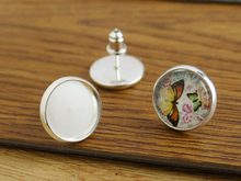 12mm 20pcs Silver Plated Earring Studs,Earrings Blank/Base,Fit 12mm Glass Cabochons,Buttons;Earring Bezels E1222