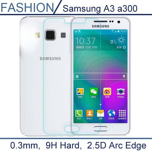2.5D 0.26mm Tempered Glass For Samsung Galaxy A3 A3009 A300H A300X 9H 2.5D Arc Edge Transparent Screen Protector<br><br>Aliexpress