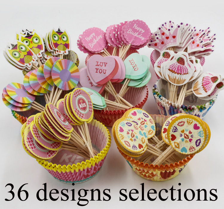 96pcs cupcake wrappers & toppers picks,greaseproof cupcake liners/wrapper,kids/children birthday party supplies,cupcake paper(China (Mainland))