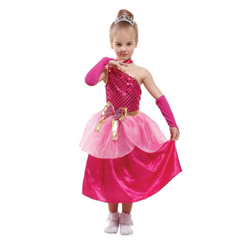 Peach Girls Princess Halloween Costume Kids Queen Fantasia ...