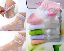 (12pairs/Lot)Child grownup crystal summer socks female child ultra-thin breathable candy color 0-5 Year children socks(China (Mainland))