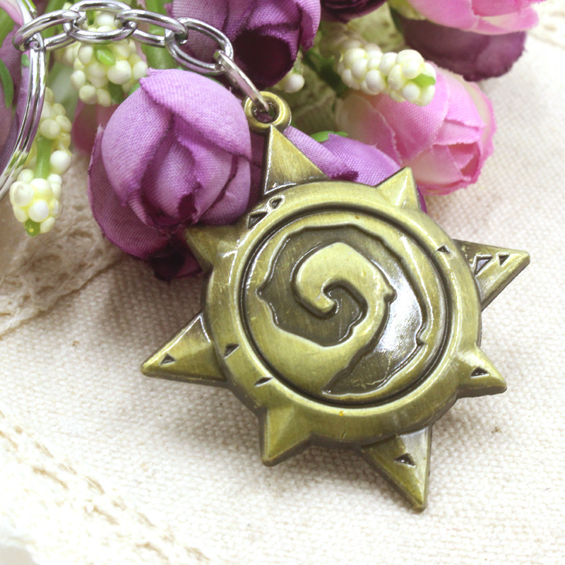 Free shipping blizzard warcraft Heartstone Logo Bronze key chain Priced direct selling(China (Mainland))