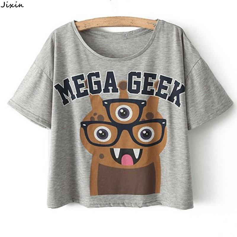 Summer Style Women Clothing Loose Cotton Cropped Tops Tees Animal Fox Mega Geek Letters Pattern T-Shirt Short Sleeve Crop Top(China (Mainland))