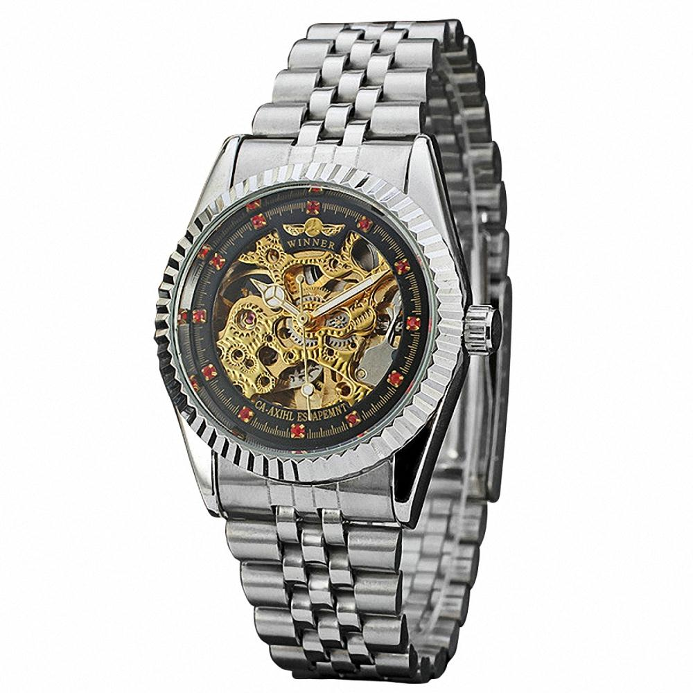 Retro Men Unisex Automatic Mechanical Wristwatch Stainless-steel Band Skeleton Dial Watch Red Crystal Decoration + GIFT BOX<br><br>Aliexpress
