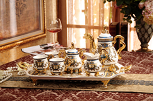High quality ceramic tea set coffee set European royal coffee cup coffee pot and coffee tray suit  teapot tea cup tea table set